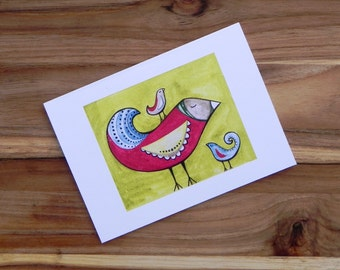 Fancy birds on lime, Eight blank notecards and envelopes