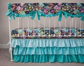 Midnight Floral Bumperless Baby Crib Cot Bedding with Ombre Skirt - Aqua Blue Purple Plum Violet Gray