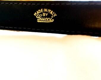 Gucci Vintage Navy Blue Leather Belt