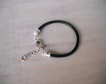 Black Leather Bracelet/ Adjustable Bracelet