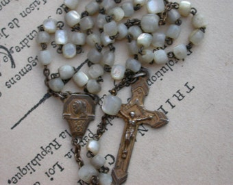 French antique sterling silver reliquary religious cross Gold crucifix Mother of pearl ornate sterling carved beads sacred heart art deco