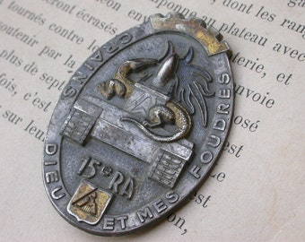 A beautiful french vintage military medal dragon  medal  heavy bronze sword castle Signed medal coat of arm