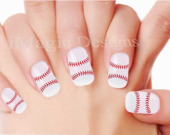 Nail Stickers, Water Slide Nail Decals, Baseball Lace