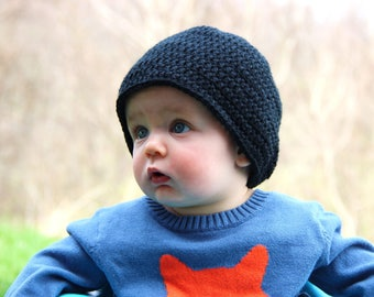 Black Crochet Baby Hat - 6-12 Month Hat - Baby Hats for Girls - Baby Hats for Boys