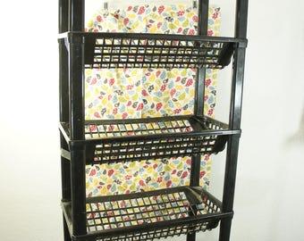 Vintage modular 5 shelf black plastic stand for VHS DVD Books CD V shelf angled gaming station produce storage lightweight compact