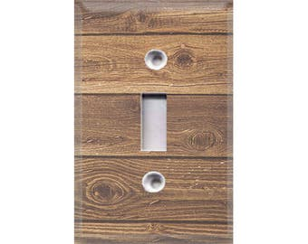 Country Rustic - Dark Wood Light Switch Cover