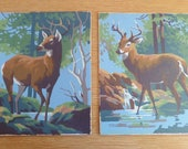 Retro Paint By Number Doe and Buck Paintings - Set of 2 Mid Century Wall Decor - Vintage 1950s Cabin Art
