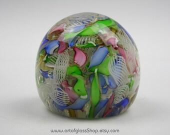 Murano scrambled filigree/aventurine/latticino glass paperweight