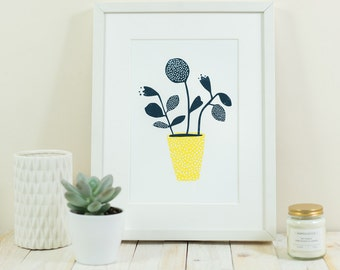 Navy yellow flowers ~ A4 print
