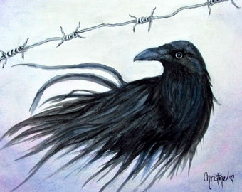 Raven art , Crow art , Crowbarb