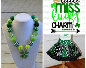 Girls St Patrick's Day outfit - Shamrock skirt set with matching HTV little miss pot of gold shirt - st paddys day clothing - baby girl