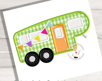 Fifth Wheel Trailer - 5th Wheel Camper Applique Design - Instant EMAIL With Download - 3 sizes - for Embroidery Machines