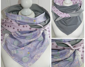 Cloth flower points and point, lilac grey pink turn of cloth from cotton Jersey, shawl for women, accessories, handmade