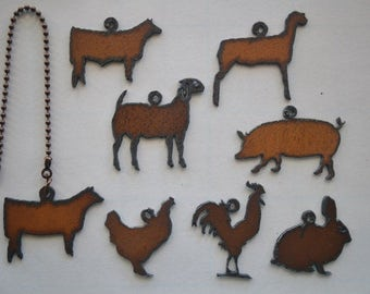 Rustic Rusted Metal FFA 4H Show Animals/Farm Animal/Heifer/Steer/Lamb/Goat/Pig/Hen/Rooster/Rabbit/Fan Pull/Light Pull/Ceiling Fan Pull Chain