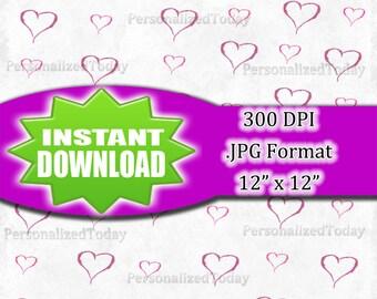 White With Hearts Digital Scrapbook File - 300 DPI - JPG File Format - 12x12 - High Resolution - INSTANT Digital Download - 0264