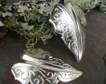 Silver Plated Stamping Medium Size Leaf Pair Right and Left