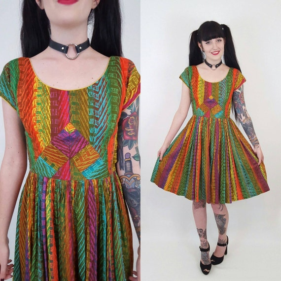 50s Vintage Knee Length Day Dress - Remade Small Mad Men Dress - 1950s Pinup Girl Multi Colorful Abstract Pattern Classic Pin Up Style Dress