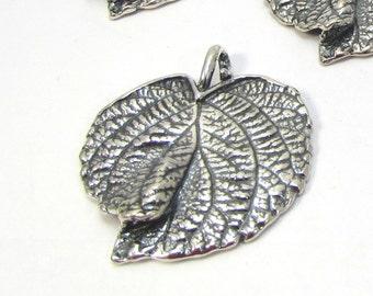 Leaf Pendant, Large Grape Leaf Focal, 40x36mm Silver Leaf, Naturalistic Detail Leaf, Jewelry Supplies, Item 1245m