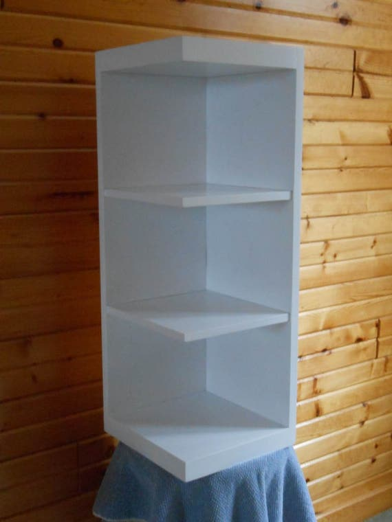 White Hardwood Custom Corner Shelf Unit