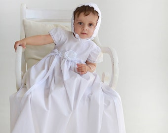 Christening Gown Susanna with bonnet Christening dress Girls baptism, blessing Gown, long baptism gown, White Christening Dress