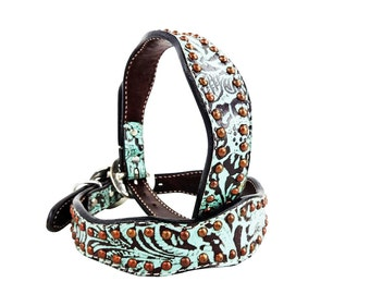 Western Style Teal Floral Tooling Canine Leather Dog Collar Handmade