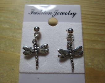 Earrings... sterling silver dragonflies... post/stud style
