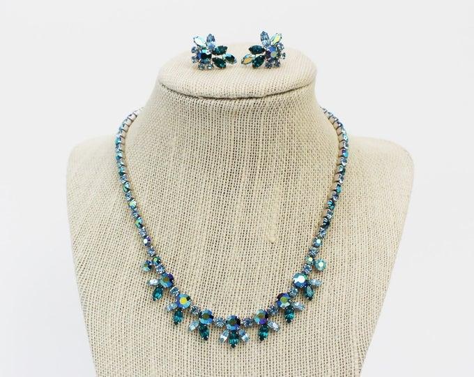 Turquoise Rhinestone Necklace and Earrings - Vintage 1950s Sherman Aqua Blue Rhinestone Demi Parure with Original Box