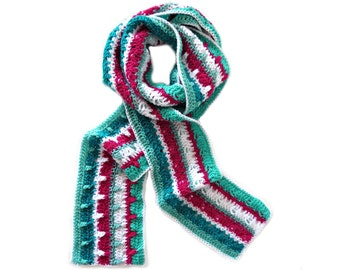 """Green, Fuchsia and White Crochet Scarf - Unique Winter Scarf - Handmade Scarf with Stripes (88"""" x 6"""")"""