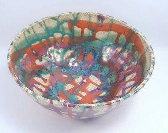 Handmade Ceramic Pottery Serving Bowl glazed with colour - handmade pottery ceramic clay serving bowl colourful glaze