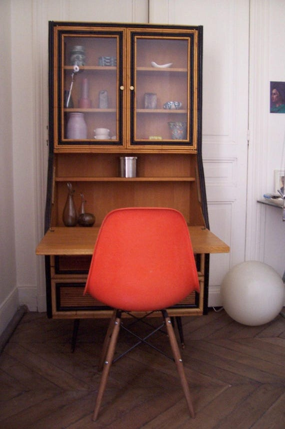 Meuble bureau secretaire vitrine vintage 1950 era colette for Meuble bureau usage
