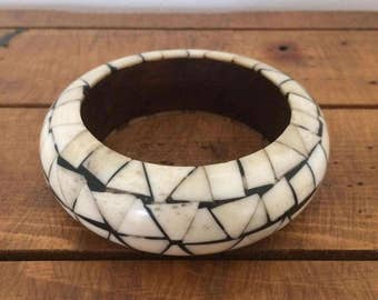 Vintage Bone and Wood Bangle