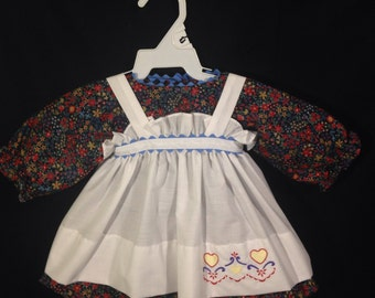 Dress and Apron for 25 INCH Raggedy Ann Doll; Dark Blue, floral  print dress with embroidered apron