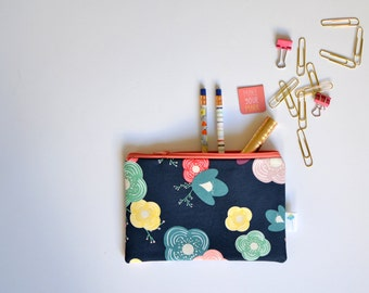 Navy Zippered Pouch, Floral Toiletry Bag, Small Travel Bag, Gift for Teen Girl, Pretty Makeup Pouch, Passport Pouch, Colorful Zipper Bag