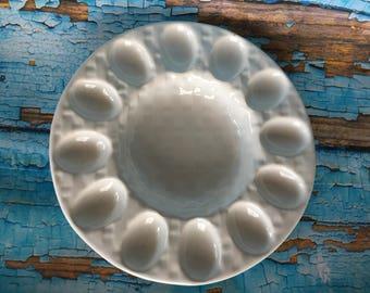 White ceramic heavy deviled egg platter