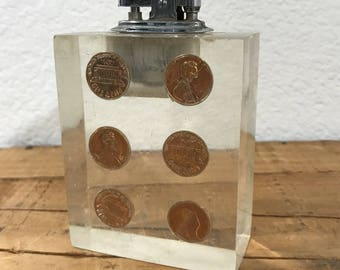 Vintage Lucky Pennies suspended in acrylic Refillable Lighter
