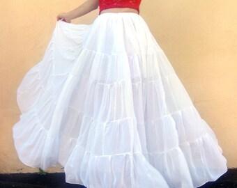 White chiffon maxi skirt, patchwork fashion, All Sizes, New