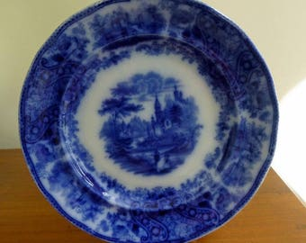 Early English Flow Blue Plate, Nonpareil, Burgess and Leigh, England, Antique Collectible, English Country Decor, Antique Gift, Home Decor R