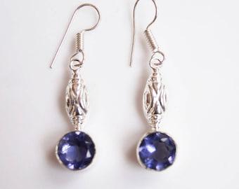 Beautiful 925 Silver Earrings with Genuine Amethyst