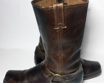 FRYE 77300 Dark Brown Leather Harness Motorcycle Biker Riding Boots 12r Women's Size 9