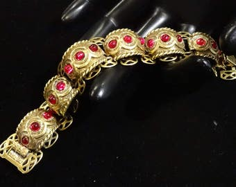 Vintage Victorian Revival Red Glass Cabochon Bookchain Bracelet