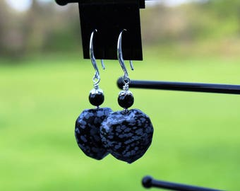Snowflake obsidian heart earrings