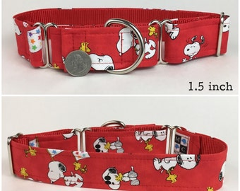 Red Snoopy and Woodstock Peanuts dog collar