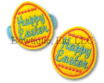 Happy Easter Egg Feltie/Hair Bow Center/24 turn around time/Embroidered/Embroidery/Easter