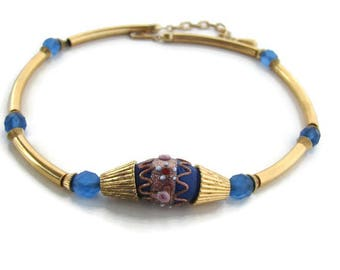 Gold blue choker Blue lampwork necklace Rare Tortolani Adjustable Choker Gold tube necklace Statement blue necklace Anniversary gift for her