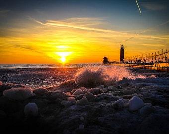Frozen Beach Lake Michigan Photo