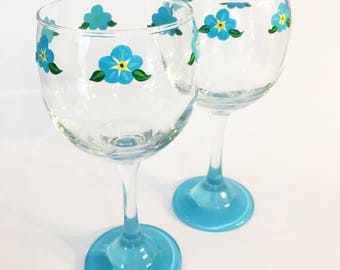 Forget Me Not Blue Flowers Wine Glasses
