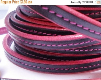"""SALE: Per 8"""" Black- Fuchsia Stitched 10x4.5mm Half Round Leather Cord, mini """"regaliz"""""""