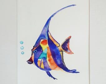 Fish watercolor painting, original watercolor painting