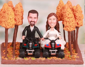 Personalised wedding cake topper - Four Wheelers Dirt Trail Riding in Woods Wedding Cake Toppers (Free shipping)