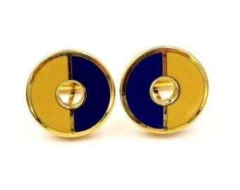 Vintage DESTINO ENAMEL CUFFLINKS Gold Tone Classic Blue & Gold Enamel Cuff Links